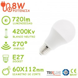 PACK DE 5 BOMBILLAS LED E27 8W A60