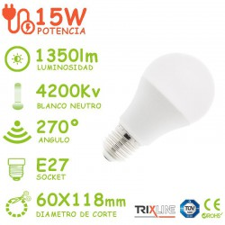 PACK DE 5 BOMBILLAS LED E27 15W A60