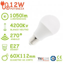 PACK DE 5 BOMBILLAS LED E27 12W A60