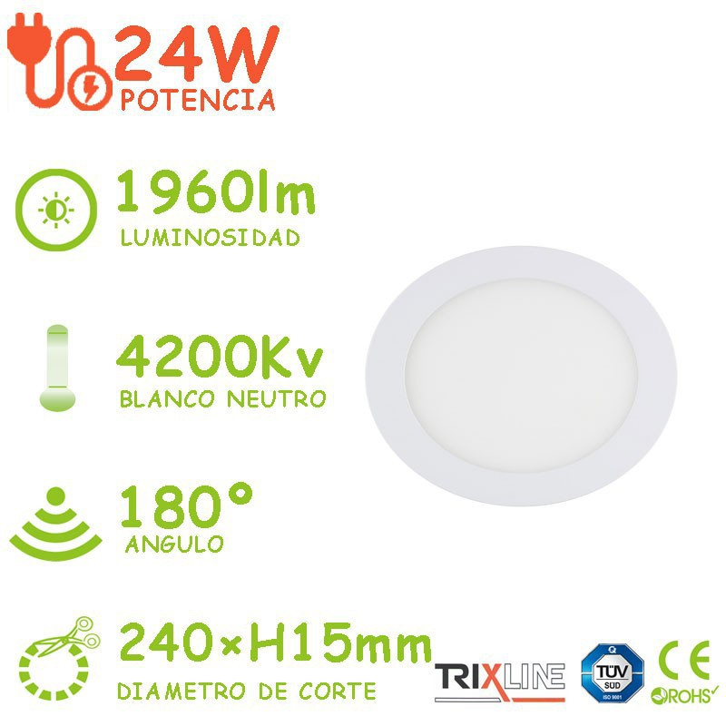 PACK DE 10 DOWLIGHT LED 24W CIRCULAR