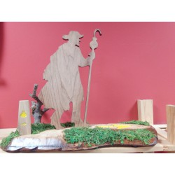Figura peregrino camino Santiago en madera
