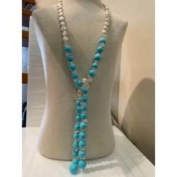 Collar de Perlas y Turquesas