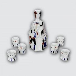 Juego de ribeiro cerámica 6 chupitos Gaiteiro